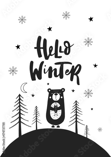 Photo sur Toile Noël Hand drawn Christmas card in scandinavian style with cute New Year elements and lettering phrase. Vector.