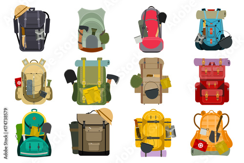 Backpack rucksack travel tourist knapsack outdoor hiking traveler backpacker baggage luggage vector illustration Wallpaper Mural