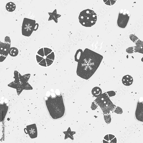 Cotton fabric Winter seamless patterns with gingerbread cookies, cacao, star, orange. Awesome holiday vector background. Christmas repeating texture for surface design, wallpapers, fabrics, wrapping paper black and
