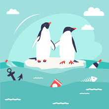 Save Oceans Concept. Illustration With Cute Penguins.