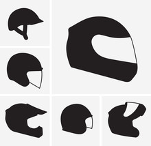 Motorcycle Helmets Vector Silh...