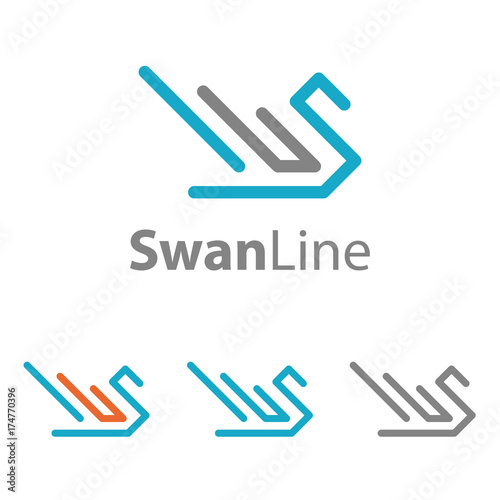 swan line art abstract simple cool logo template buy this stock
