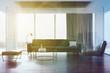 Loft living room, gray sofa and armchair toned