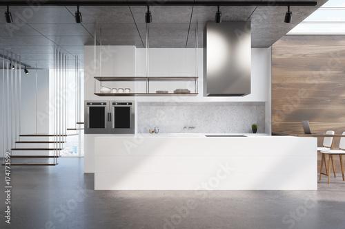 Fototapeta White kitchen counter, wood and concrete obraz