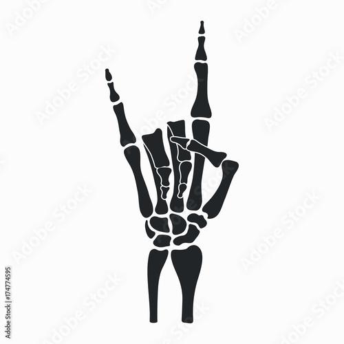 Rock Skeleton Hand Heavy Metal Sign Horns Rock N Roll