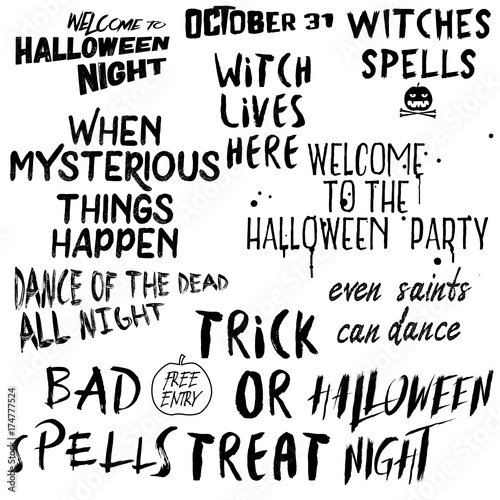 Quote Halloween Typography Set. Calligraphy Horror Style Collection.  Holiday Lettering. Scary Phrase Overlay