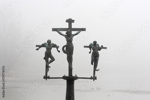 Leinwand Poster Crucifixion of Jesus Christ, INRI, sculpture on the bridge to the Insel Mainau i