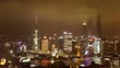 Timelapse of aerial view towards the Pudong skyline , Shanghai, China