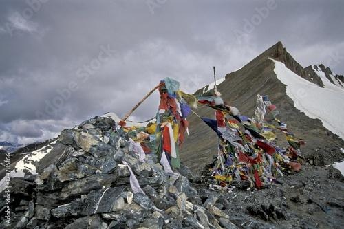 Photo Prayer flags, Parang La or Parang Pass, 5580m, Kibber-Karzok-Trail, Himachal Pra