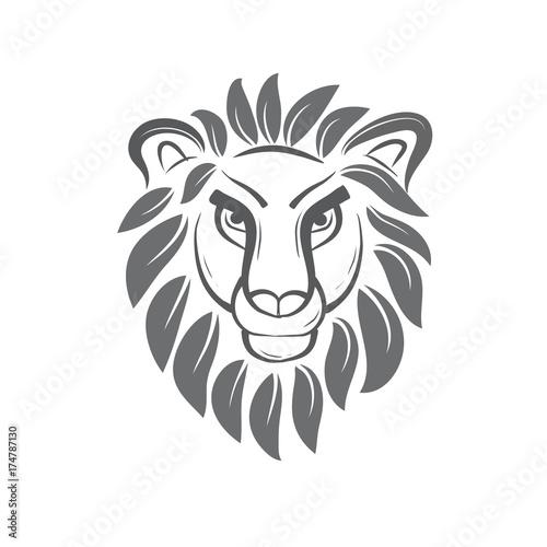 Fototapety, obrazy: black white lion leaf mane