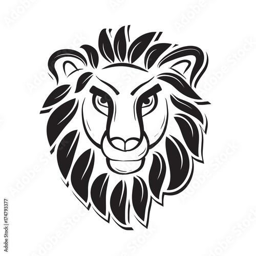Fototapety, obrazy: black white lion art with leaf mane