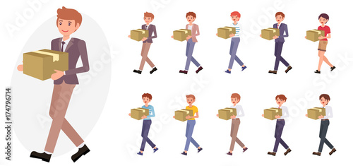 Obraz Cartoon character design male office man in business suit carry box collection - fototapety do salonu