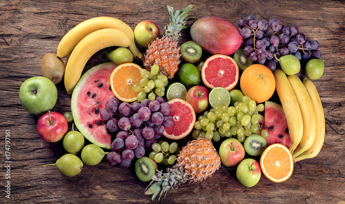 Tuinposter Vruchten Fruits background. Healthy diet eating concept