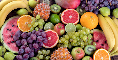 Poster Fruit Fruits background. Healthy eating concept. Flat lay.