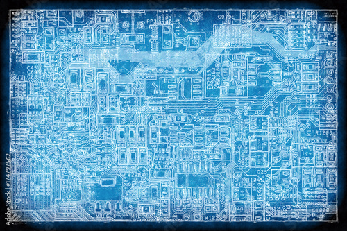 Circuit board blueprint background - Buy this stock illustration and ...