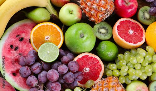 Foto op Aluminium Vruchten Fruits background. Healthy diet eating concept. Flat lay