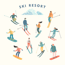 Vector Illustration Of Skiers ...