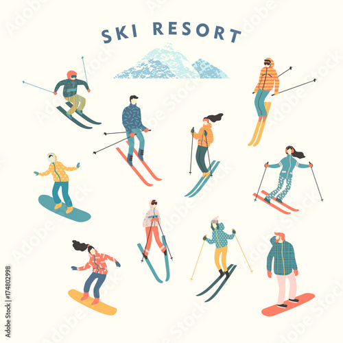 Fotomural Vector illustration of skiers and snowboarders.