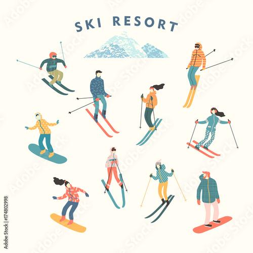 Fotografía Vector illustration of skiers and snowboarders.