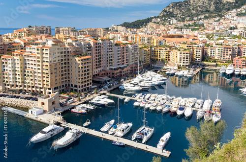 Foto op Plexiglas Arctica Luxury motor yachts docked in Fontvielle harbour, Monaco