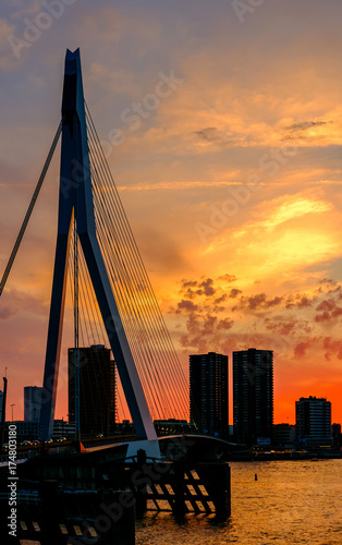 Deurstickers Rotterdam Rotterdam city cityscape with Erasmus bridge at sunset