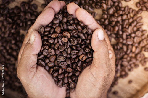 Fotomural roasted coffee beans, can be used as a background.
