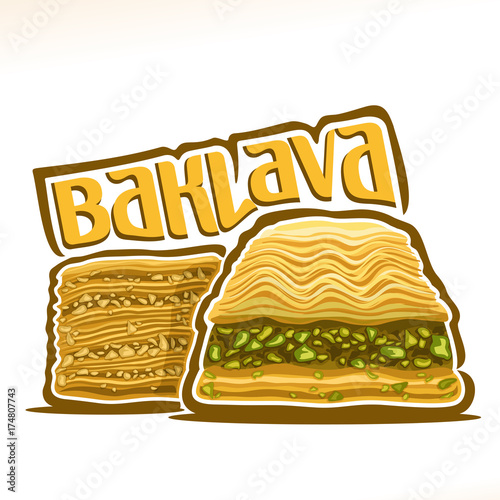Vector logo for turkish Baklava, original typography typeface for yellow word ba Canvas Print