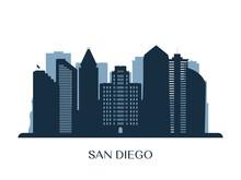 San Diego Skyline, Monochrome ...