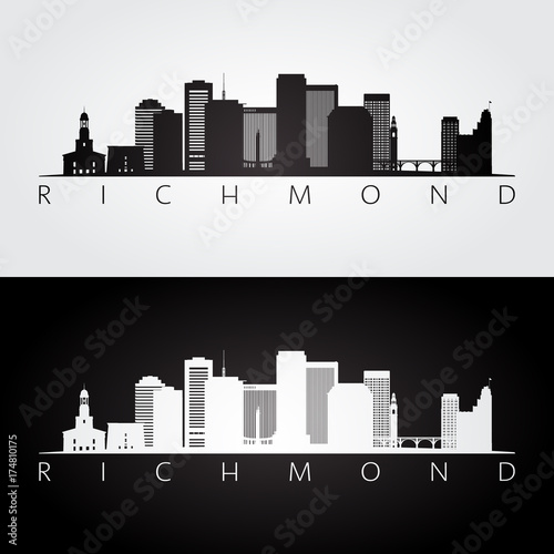 Fotografie, Tablou Richmond usa skyline and landmarks silhouette, black and white design, vector illustration