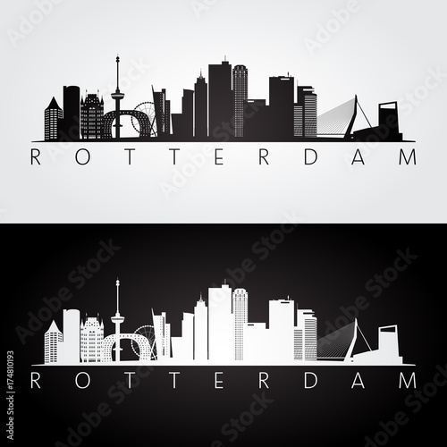 Cadres-photo bureau Rotterdam Rotterdam skyline and landmarks silhouette, black and white design, vector illustration.