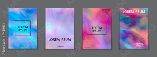 Liquid color splash covers set. Set of modern marble splatters. Design elements for poster, cover, card, brochure, banner .