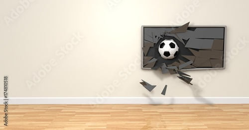 Televisión rota balón fútbol Wallpaper Mural