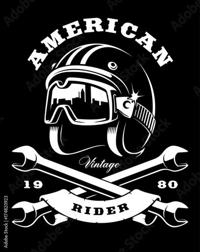 Slika na platnu cafe racer helmet with wrenches on dark background