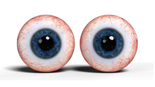 Two Realistic Human Eyes With Blue Iris, Isolated On White Background