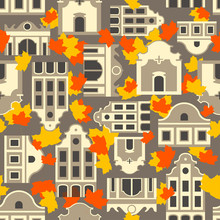 Seamless Vector Autumn Pattern Of Stylized Vintage Dutch Brown And White Houses. Falling Maple Red Leaves On Yellow Background.