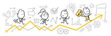 Strichfiguren / Strichmännchen: Business, Wettbewerb, Fortschritt. (Nr. 94)