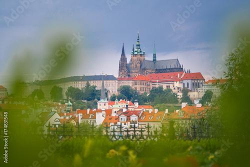 Plakat Piękny krajobraz stary miasteczko, Praga kasztel i Hradcany w Praga, republika czech.