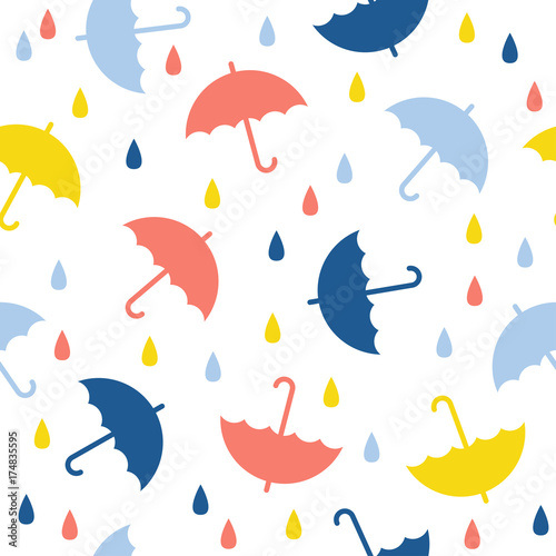 Abstract Handmade Umbrella And Drop Seamless Pattern Background Childish Handcrafted Wallpaper