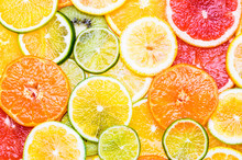 Citrus Fruits Various Top View Background. Vitamin C Fruits.