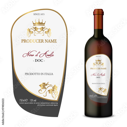 Vector wine label Wall mural