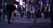 Tourist walking aross street - time lapse -new york city september 12 2017