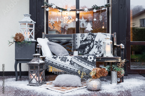 Outdoor New Year Decoration Wooden Bench With Plaid Candles Awesome How To Decorate A Bench With Pillows