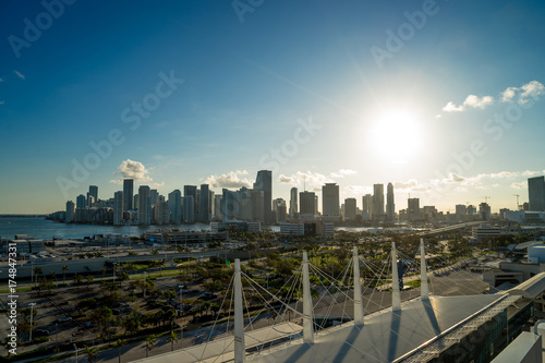 Fototapety, obrazy: Miami Skyline and shipping docks from cruise ship with cruise ship board foreground