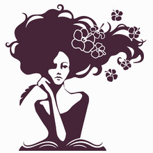 Woman Writer Silhouette, Woman Looking Thoughtfully And Coming Up With Poems