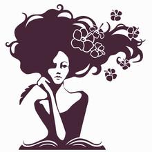 Woman Writer Silhouette, Woman...