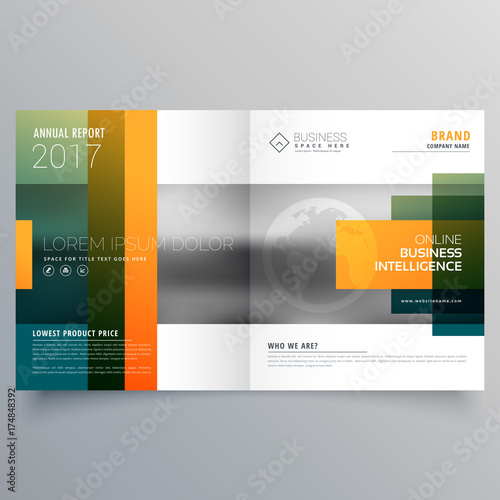 Abstract Creative Bi Fold Brochure Template Or Magazine