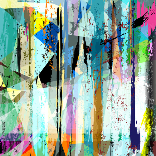 Fototapety, obrazy: abstract background pattern, with strokes and splashes,