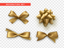 Bows Gold Realistic Design. Is...