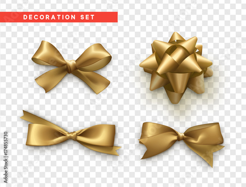 Fényképezés Bows gold realistic design. Isolated gift bows with ribbons.