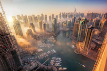 Dubai Marina With Colorful Sun...